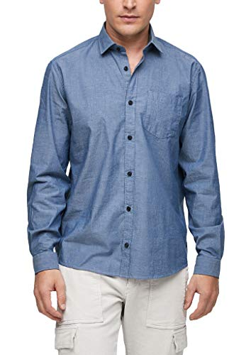 s.Oliver Herren Regular: Hemd aus Chambray Blue XXL
