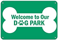 私たちのドッグパークへようこそペットの動物のサインアルミニウムの金属のサイン