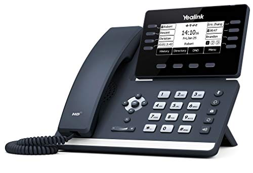 Yealink T53 IP Phone, 12 VoIP Accounts. 3.7-Inch Graphical Display. USB 2.0, Dual-Port Gigabit Ethernet, 802.3af PoE, Power Adapter Not Included (SIP-T53)