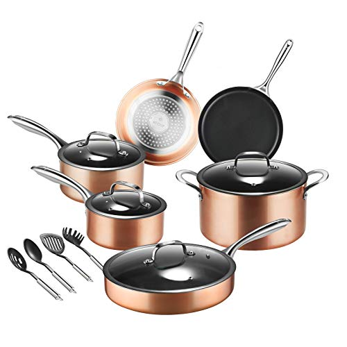 Pots-and-Pans-Set-MVCHIF Induction Cookware Pots and Pans Set Nonstick for Cooking Pan Set Aluminum Dishwasher Safe Stainless Steel Handle with Utensils 14 Pieces RoseGold