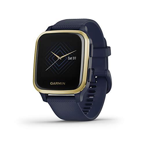Garmin Venu Sq Music, GPS Smartwatch with Bright Touchscreen Display, Features Music and Up to 6 Days of Battery Life, Light Gold and Navy Blue (010-02426-02)