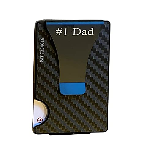 Smart Wallet Card Holder Case Money Clip, As Seen On TV, Carbon Fiber Wallet, RFID Blocking Slim Minimalist Front Pocket Wallet, Business Card Holder for Men, Dad, Father's Day, Groom - 1 Line ENGRAVING INCLUDED