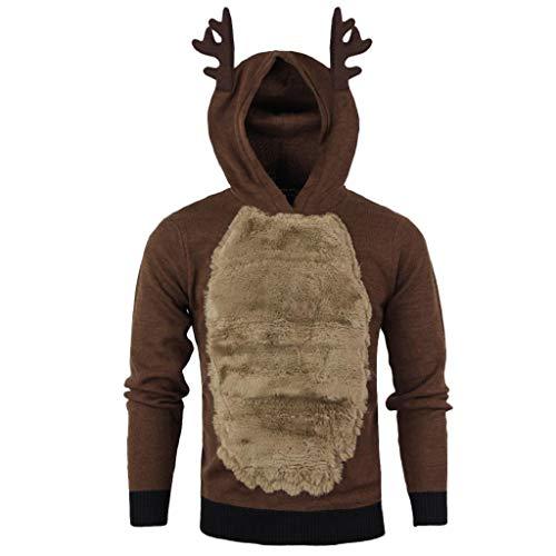 VICGREY ❤ Felpa con Cappuccio Natale, Uomo A Maniche Lunghe Cappotto Renna 3D Camicetta Top Autunno Inverno Giacca Casual da Uomo Maglione Maglia Outwear di Natale