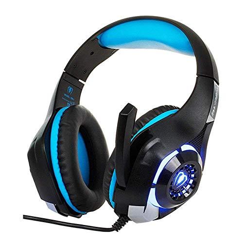 Auriculares iluminados para juegos con micrófono envolvente de sonido estéreo/cancelación de ruido/luz LED/compatible con PC, para PS4, Xbox y más (tamaño: azul) FDWFN (tamaño: azul)