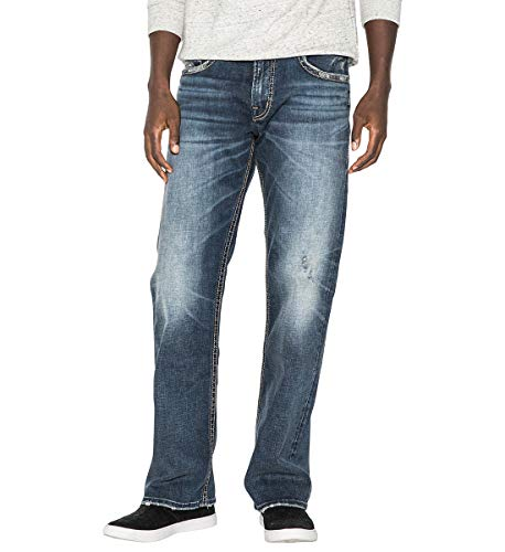 Silver Jeans Co. Men's Zac Relaxed Fit Straight Leg Jeans, Vintage Dark Wash, 34W X 30L