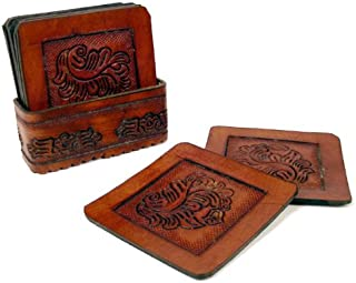 New Bar Square Coaster Set of Eight Hand Tooled Leather with Tray