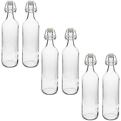 mikken 6 botellas de cristal de 1000 ml con cierre de clip de plástico, incluye etiquetas de rotulación.