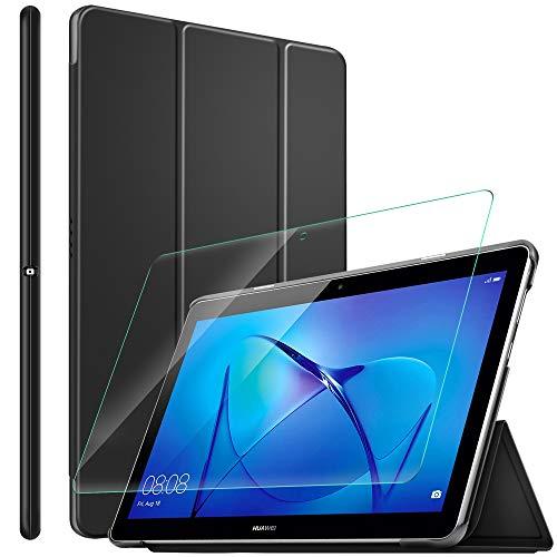 ELTD Hülle mit Bildschirmfolie für Huawei Mediapad T3 10,Ultra Slim Eingebautem Magnet PU Leder Schutzhülle mit Glas Bildschirmsfolie für Huawei Mediapad T3 10 Zoll (Schwarz)
