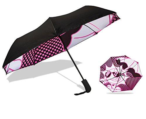 UVDAY Auto Open Close UV Protection Travel Compact Folding Sun Umbrella UPF50+ (21 inches, Black Pink)
