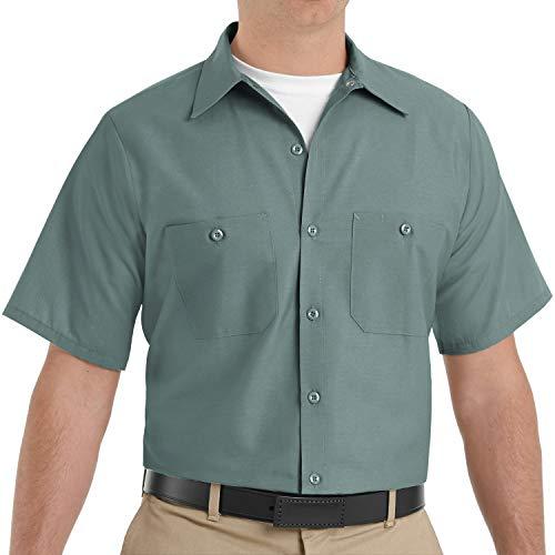 Red Kap Men's Standard Industrial Work Shirt, Regular Fit, Short Sleeve, Light Green, 2X-Large