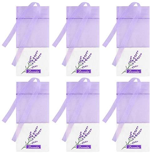 CLISPEED Lavendel Beutel Leere Duft Lavendelsäckchen Baumwolle Blume Muster Organzabeutel Süßigkeitstaschen Kordelzugbeutel Sack Motten Duftsäckchen für Kleiderschrank Lila 30 Stück