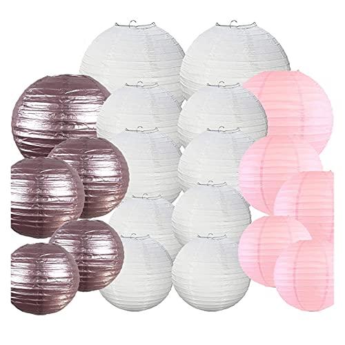 CAIFEIYU 20 PCS China Japonés Linterna de Papel 8'10' 12'Luz Blanca Rosa Rosa DIY DIY Papier Lampión para la Fiesta de Bodas Decoración Colgante