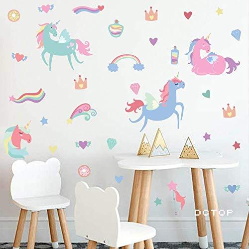 Kleurrijke Eenhoorns Muursticker Kleurrijke Zoete Hartjes Decals Decoratie voor Het Huis Kinderen Kinderkamer Moderne Kunst Verwijderbaar Behang