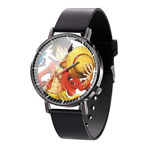 Anime One Piece Luffy Séries Montre à Quartz analogique étanche en Acier Inoxydable Gel de silice Bande Montre Montre de Mode Unisexe garçon Fille Cadeau-A1