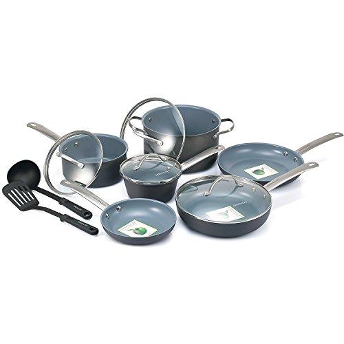 Best Cookware Set Premium 12 Piece Nonstick Ceramic, Hard-Anodized Aluminum, PFAS and PFOA Free, Dishwasher Safe, Gray Interior Color
