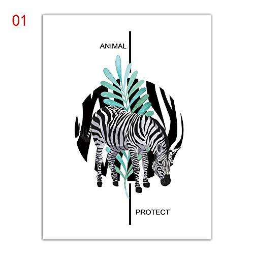 (Geen frame) 60x80 CM Prints Animal Protect Schilderij Nordic Leaf Zebra Poster Wall Art Stijl Paard Foto Op Canvas Mode Kantoor Woonkamer Decor