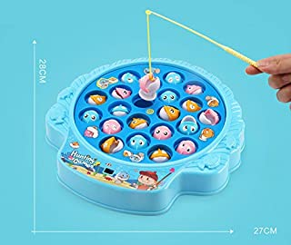 PowerTRC Rotating Board Fishing Game Toy Set with Music, Quiet Play Safe and Durable Gift Includes 21 Fish and 4 Fish Poles for Kids and Toddlers