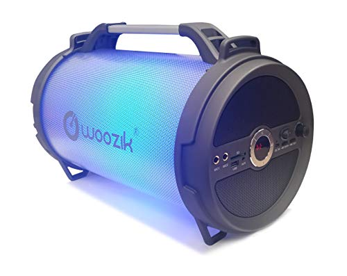 Woozik Rockit Boom LED Portable Wireless Speaker, Wireless Indoor Outdoor Boombox with FM Radio, AUX, USB, SD Card and MIC Support