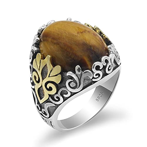 925 Sterling Silver Mens Ring with Natural Tiger Eye Stone Oxidized Silver Ring Turkish Jewelry,11