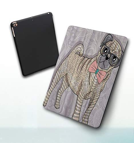 Funda para iPad 9,7 Pulgadas, 2018/2017 Modelo, 6ª / 5ª generación,Hipster Pug con Gafas Nerdy y Pajarita de Dibujos Animados Gracioso, Smart Leather Stand Cover with Auto Wake/Sleep