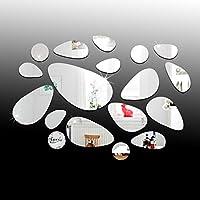 DIYフレームレス背景装飾ミラーアクリルミラーステッカー、18個の装飾ミラー装飾ミラー、リビングルームの廊下の楕円形の壁ミラー