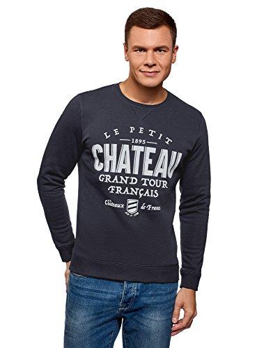 oodji Ultra Herren Gerades Sweatshirt mit Flock-Schriftzug, Blau, DE 58-60 / XXL