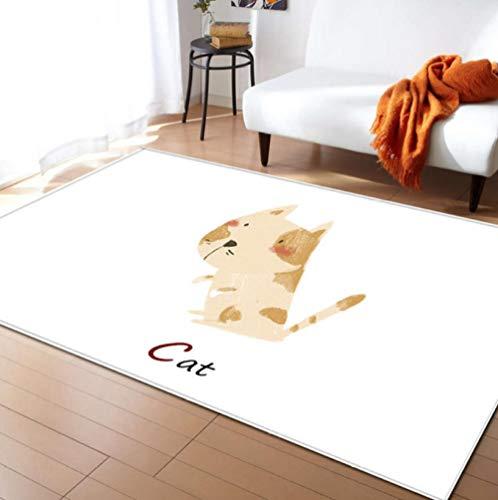 Oso hormiguero de dibujos animados Alfombras de animales Decoración de dormitorio Alfombra de juego para niños Franela suave Espuma de memoria Mesa de té Alfombras Sala de estar Alfombra 120X170CM