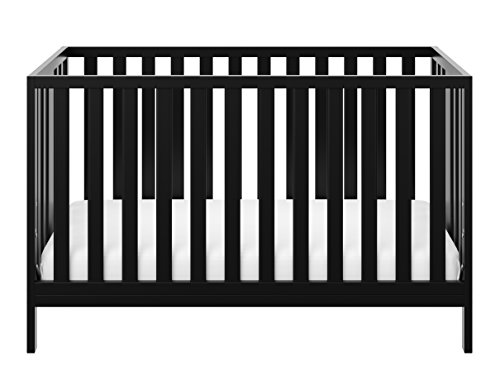 Storkcraft Pacific Convertible Crib, Black Easily Converts to Toddler Bed, Day Bed or Full Bed, 3...