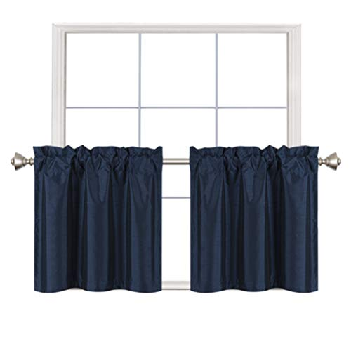 Home Queen Faux Silk Rod Pocket Tier Curtains for Small Window, Small Room Darkening Basement Curtains, Cafe Drapes, 2 Panels, 30 W X 24 L Inch Each, Solid Navy