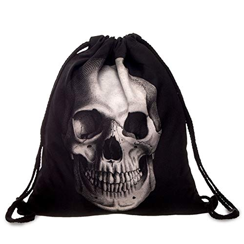 Beito 1Pc Personality Drawstring Backpack 3D Skull Pattern Sport Bag Gym Sack Bag Drawstring Storage Bag for School Outdoor