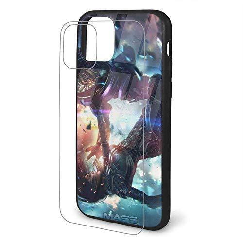 BONRI Ma-SS Eff-ect Fall Funda para iPhone 11 Pro Vidrio Templado Atrás Cristal híbrido con Funda Protectora de Silicona Suave Diseño de patrón Funda a Prueba de Golpes para iPhone 11 Pro (5,8 ¡¯)