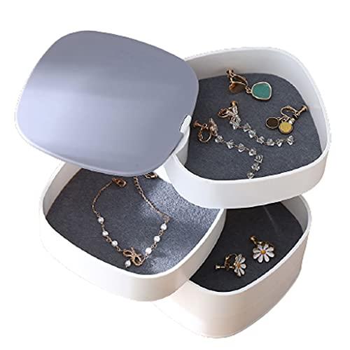 BOLE Portátil Caja de joyería de Giro Caja de joyería de múltiples Capas para Pendientes Collares Anillos Regalos de cumpleaños Mujeres Chica Home Joyería Organizador Exterior