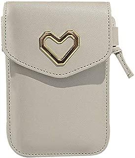 TOOGOO Girl'S Shoulder Cell Phone Bag Simple Heart Shaped Crossbody Bag Pu Female Fashion Bag Pink