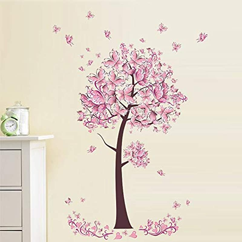 EWQHD Pink Butterfly Tree Wall Sticker For Baby Girl Room Living Room Bedroom Wall Decor PVC Removable Poster Art Home Decals