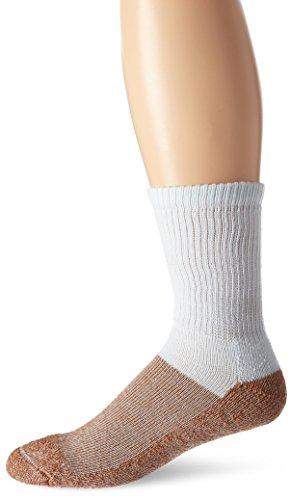 Copper Sole Men's Pro Therapy Cupron Crew Socks, White, Shoe: 12.5-14