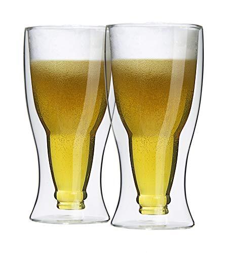 Juego de 2 vasos de cerveza térmicos de doble pared.