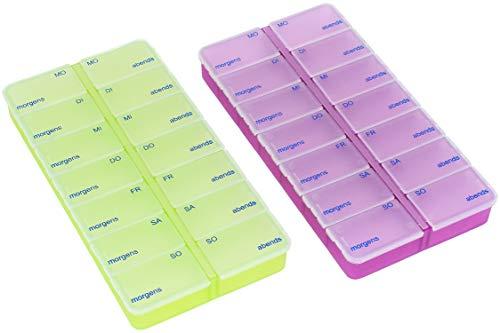 com-four® 2X Medikamentendosierer - Medikamenten-Box für 7 Tage - Pillendose - Tablettendose - Tablettenbox - Wochendosierer zur Aufbewahrung (02 Stück - lila/grün)
