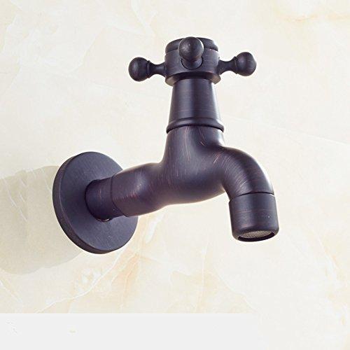 MQHY- Schwarz Antiker Kupfer Spültischarmatur Badezimmer Mop Pool Wasserhahn in die Wand Wasserhahn Waschmaschinenarmatur G1/2 Standard Retro Waschbecken Wasserhahn C-Long Typ
