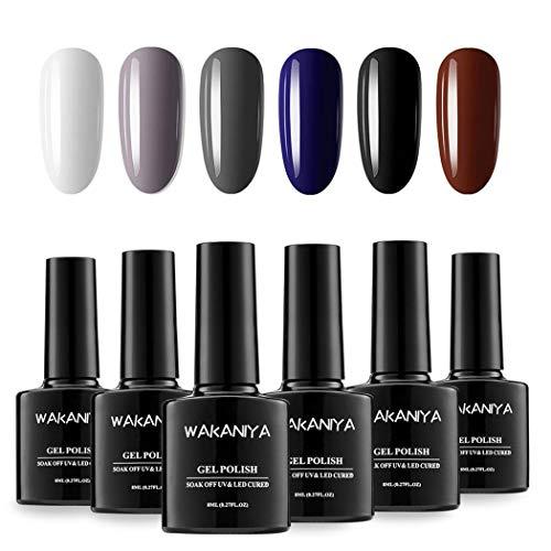 WAKANIYA Gel Nail Polish Sets Gel Nagellack, Dark Series 6 Colors Nail Art Home Set Gel Polish...