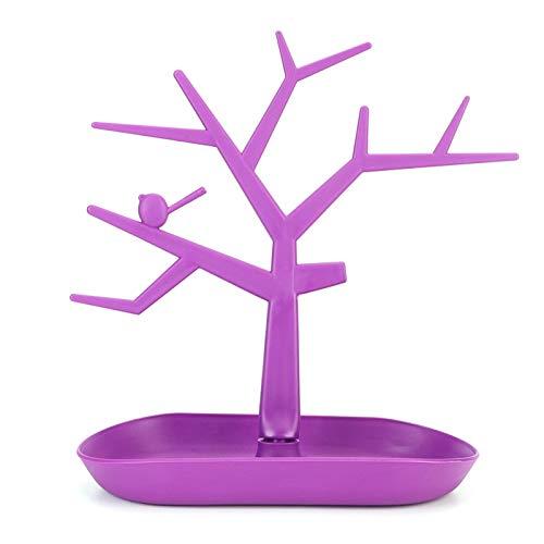 Práctico duradero Pendientes desmontables Pulsera Show Stand Rack Encantadora forma de rama, para almacenar o exhibir joyas(purple)