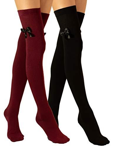 Molton Marley 2 Paar Damen Overknee Strümpfe Lange, mit Schleife, Baumwollstrick, Überknie Socken Hergestellt in der EU
