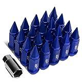 J2 Engineering LN-T7-020-15-BL Blue 7075 Aluminum M12 x 1.5 20Pcs L: 75mm Spiky Cap Lug Nut w/Adapter