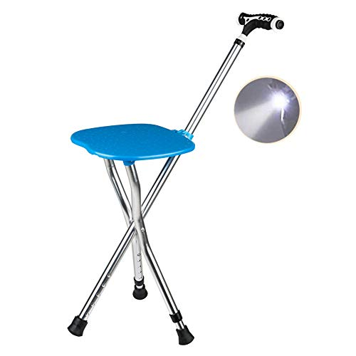 Folding Cane Seat with Bright LED Light Height Adjustment 300 lbs Capacity Walking Stick Combo Chairs Stool Deluxe Massage Crutches Seat Aluminum Lightweight Travel Aid for Elder Parents Gift (Blue)