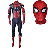 MODRYER Costumes Spiderman Fer Araignée Déguisements Costume Halloween Combinaison Unisexe Enfants Adultes Cosplay Vêtements Attire Lycra Zentai,Men/XXL 175~180cm