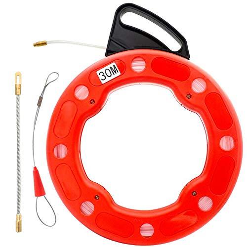 Akuoly 30m Einziehband Einziehdraht Einziehspirale mit Führungsfeder Einziehhilfen Einzugsband zur Kabelverlegung in Kunststoffgehäuse,Nylon