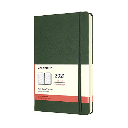 """Moleskine 12 Month 2021 Daily Planner, Hard Cover, Large (5"""""""" x 8.25"""""""") Myrtle Green, DHK3412DC3Y20"""