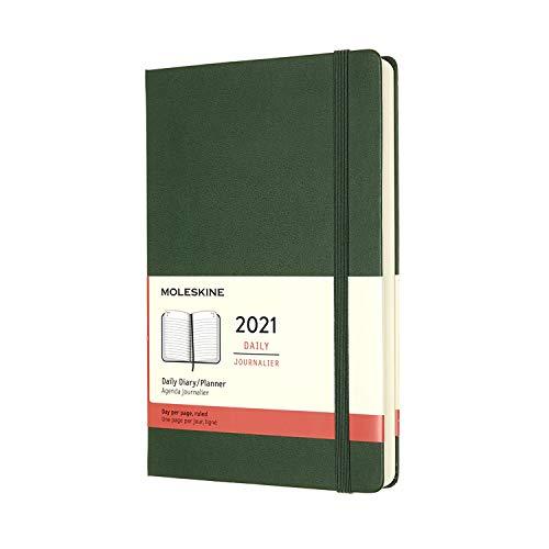Moleskine - Agenda Giornaliera 12 Mesi 2021, Daily Planner 2021, Copertina Rigida e Chiusura ad Elastico, Formato Large 13 x 21 cm, Colore Verde Mirto, 400 Pagine
