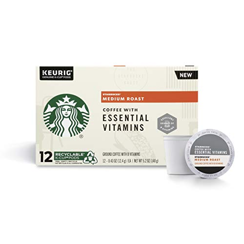 Starbucks Medium Roast K-Cup Coffee Pods with Essential B Vitamins — for Keurig Brewers — 4 boxes (48 pods total)