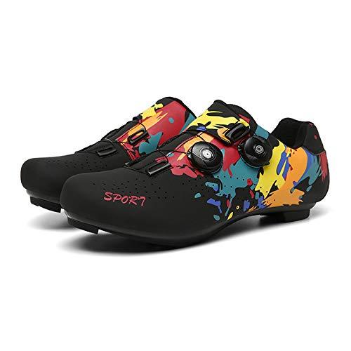 MILECN Zapatos de Ciclismo Antideslizantes, Calzado de Fibra de Carbono Transpirable y...