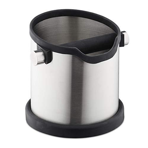 Relaxdays Abklopfbehälter Kaffeesatz, Gummi-Abklopfstange, für Siebträgermaschine, Abschlagbehälter, Edelstahl, silber